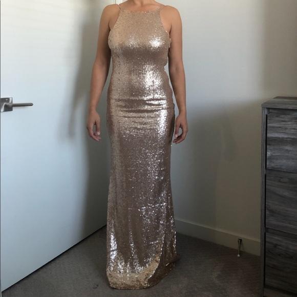 69f110af Lulu's Dresses | Lulus Chic Celebration Champagne Sequin Maxi | Poshmark